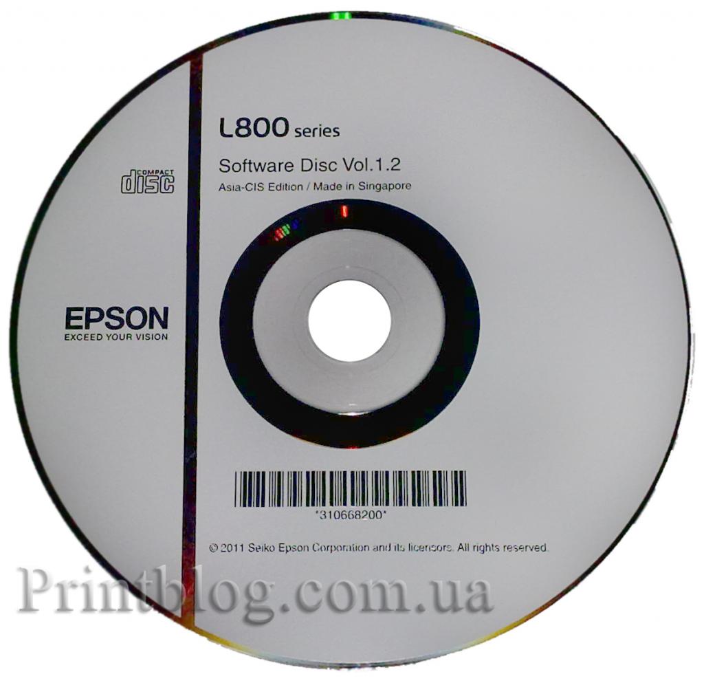 Установочный диск Epson L800